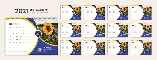 Kalendarz na biurko 2021 szablon