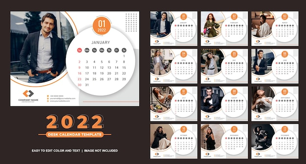 Kalendarz na biurko 2022 szablon fajny i elegancki design