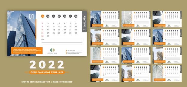 Kalendarz na biurko 2022 szablon nowoczesne i czyste wzory