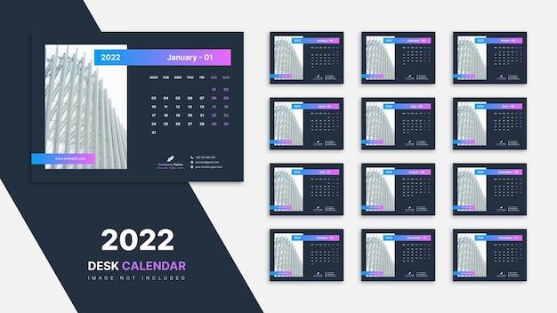 Kalendarz na biurko 2022 szablon projektu
