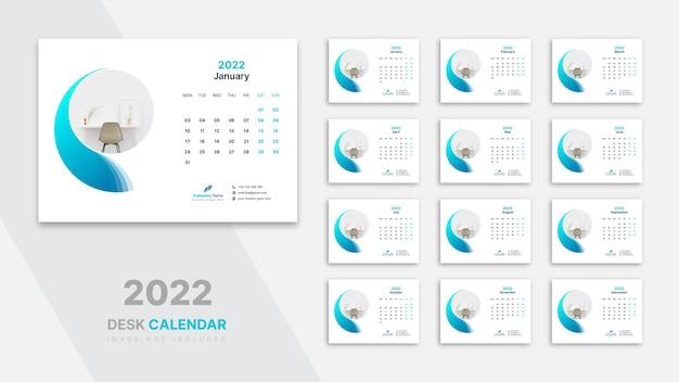 Kalendarz Na Biurko 2022 Szablon Premium Wektorów