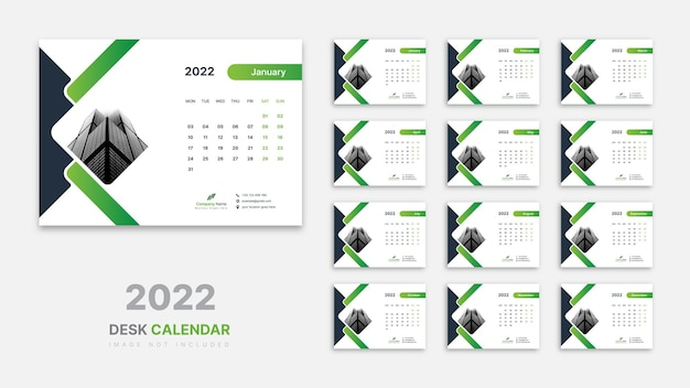 Kalendarz na biurko 2022 szablon
