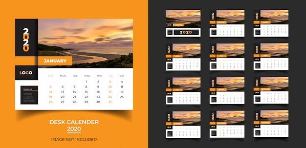 Kalendarz na biurko do szablonu 2020