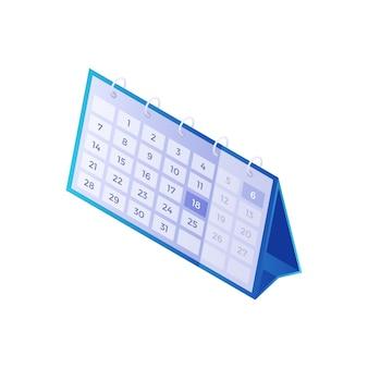 Kalendarz na biurko izometryczny. niebieski organizator przypominający o roku i planujący dzień tygodnia. zarządzanie harmonogramem kreacji z miesięcznym raportem. informacje i odliczanie terminu spotkania.