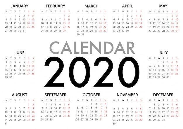 Kalendarz na rok 2020 rozpoczyna się w poniedziałek. prosty szablon
