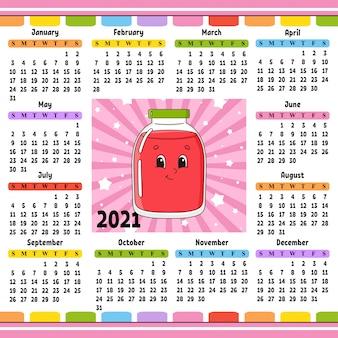 Kalendarz na rok 2020 z uroczą postacią. zabawny i jasny design.