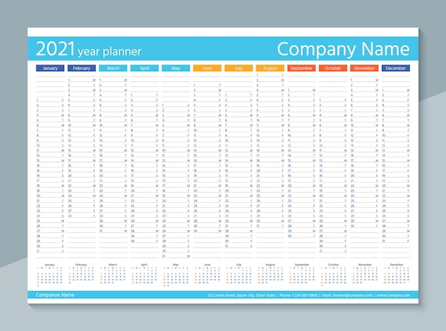 Kalendarz na rok 2021. coroczny organizator. kalendarz planu dnia z 12 miesiącami.