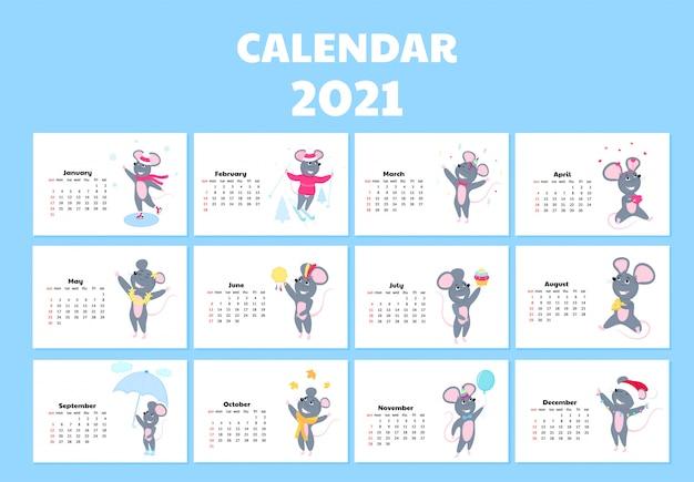 Kalendarz na rok 2021 od niedzieli do soboty. śliczne szczury w różnych kostiumach. postać z kreskówki myszy.