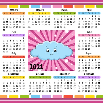 Kalendarz na rok 2021 z uroczym charakterem śmieszna chmurka