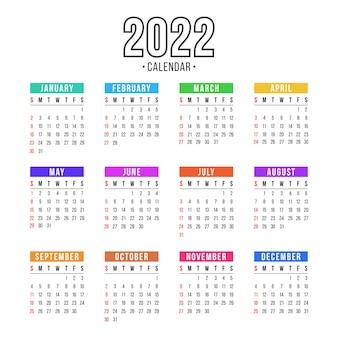 Kalendarz na rok 2022 na białym tle dla organizacji i biznesu