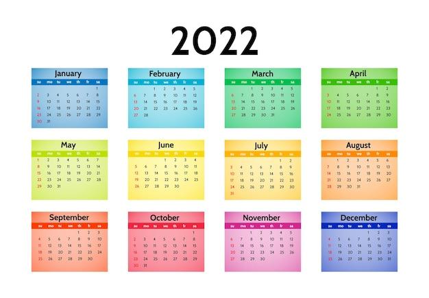 Kalendarz Na Rok 2022 Na Białym Tle. Od Niedzieli Do Poniedziałku, Szablon Biznesowy. Ilustracja Wektorowa Premium Wektorów