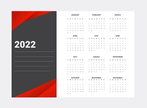 Kalendarz na rok 2022 na białym tle szablon biznes od niedzieli do poniedziałku