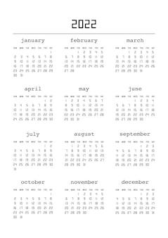Kalendarz na rok 2022. planer kalendarza dla szablonu projektu korporacyjnego. tydzień zaczyna się od niedzieli. ilustracja wektorowa.