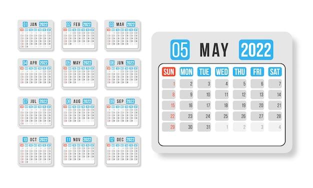 Kalendarz na rok 2022 poziomy szablon projektu wektor prosty i czysty design