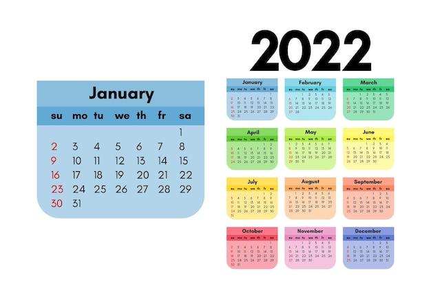 Kalendarz na rok 2022 z dużym stycznia na białym tle. od niedzieli do poniedziałku, szablon biznesowy. ilustracja wektorowa