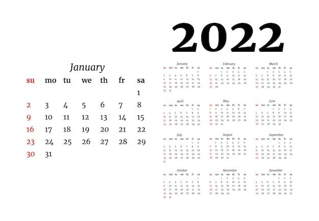 Kalendarz na rok 2022 z dużymi stycznia na białym tle. od niedzieli do poniedziałku, szablon biznesowy. ilustracja wektorowa