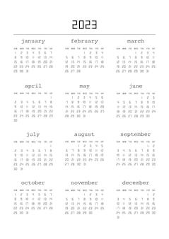 Kalendarz na rok 2023. planer kalendarza dla szablonu projektu korporacyjnego. tydzień zaczyna się od niedzieli. ilustracja wektorowa.