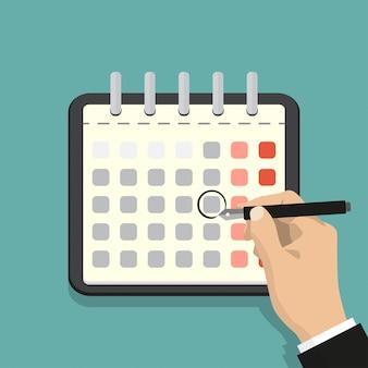 Kalendarz na ścianie i ręka oznaczająca jeden dzień. ilustracja wektorowa płaski.