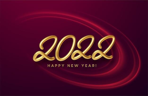 Kalendarz nagłówek 2022 realistyczny metaliczny złoty numer na tle wirowa czerwona fala ze złotym blaskiem. szczęśliwego nowego roku 2022 czerwone tło. ilustracja wektorowa eps10