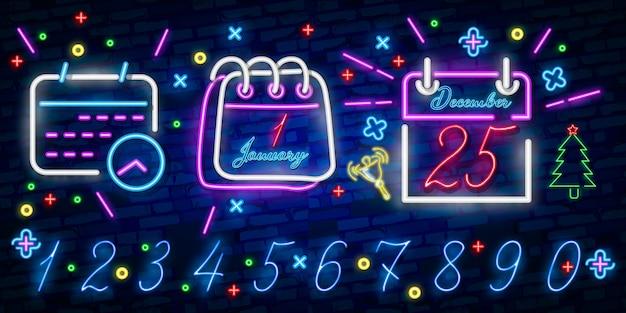 Kalendarz niebieski świecące neonowe ikony ui ux. świecące logo znaku