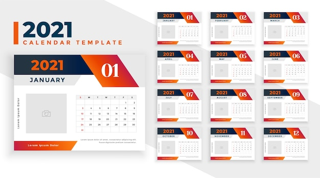Kalendarz noworoczny w stylu geometrycznym