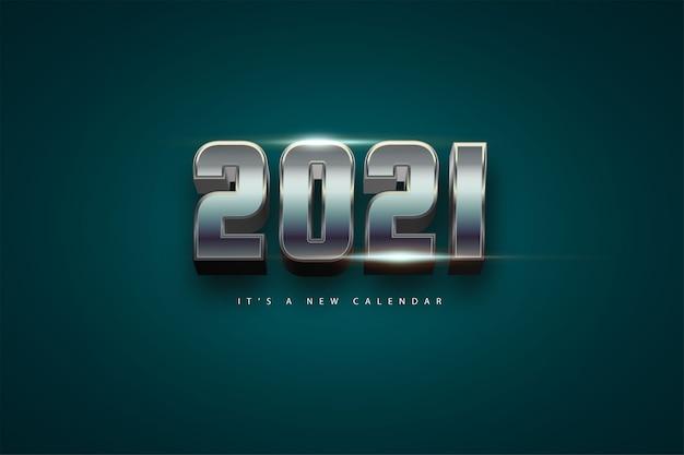 Kalendarz nowy rok 2021, ilustracja wakacje szablon chrom kolorowe tło