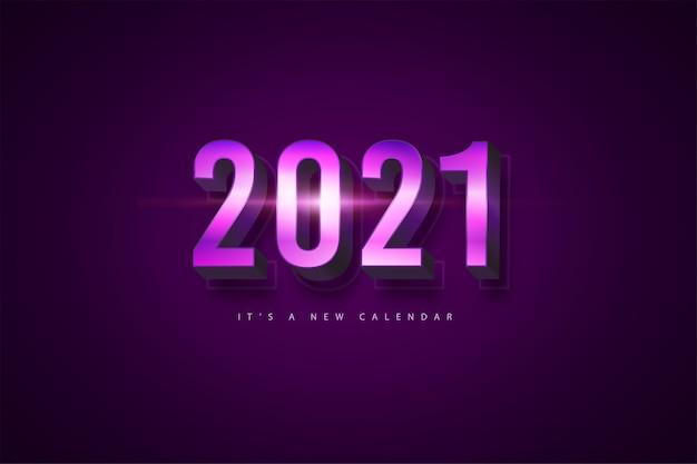 Kalendarz nowy rok 2021, ilustracja wakacje szablon fioletowe kolorowe tło