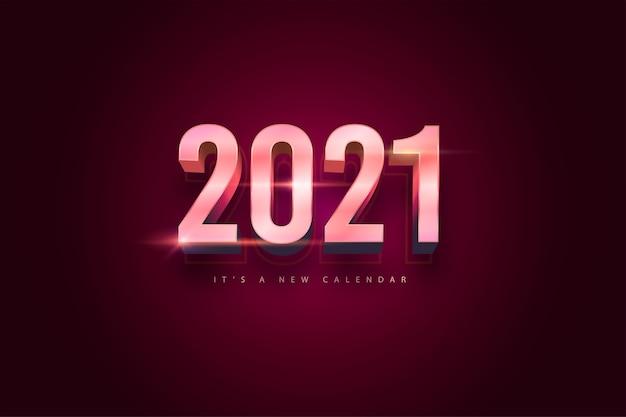 Kalendarz nowy rok 2021, ilustracja wakacje szablon kolorowe tło różowego złota