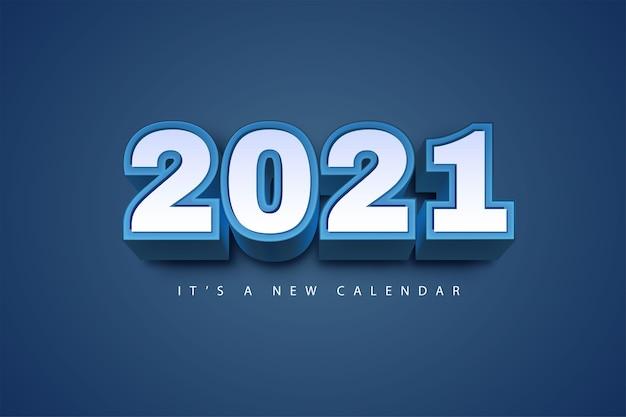 Kalendarz nowy rok 2021, ilustracja wakacje szablon niebieskie kolorowe tło