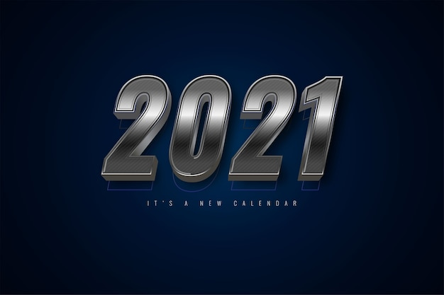 Kalendarz nowy rok 2021, ilustracja wakacje szablon srebrne kolorowe tło