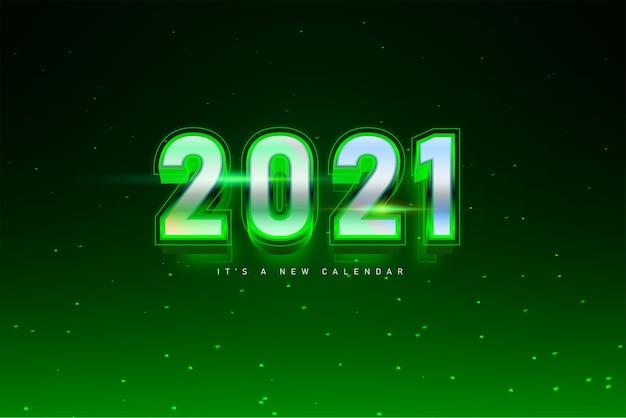 Kalendarz nowy rok 2021, ilustracja wakacje szablon srebrne zielone kolorowe tło