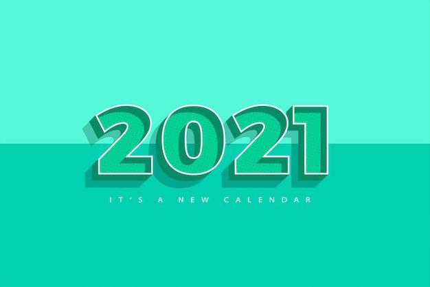 Kalendarz nowy rok 2021, ilustracja wakacje szablonu kolorowe tło retro tosca