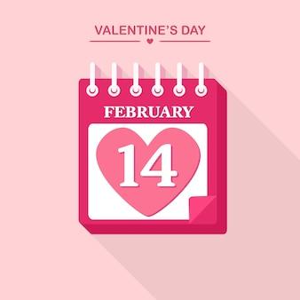 Kalendarz odrywania na luty. szczęśliwych walentynek, 14 lutego