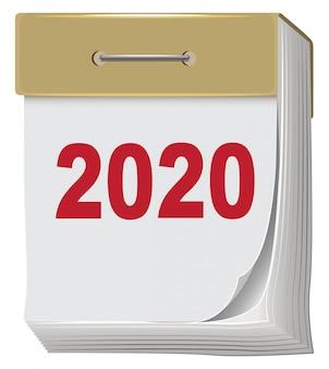Kalendarz odrywania nowy rok 2020 na białym tle.