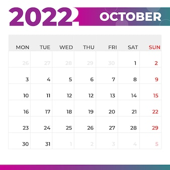 Kalendarz październik 2022