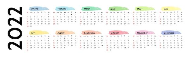 Kalendarz poziomy na rok 2022 na białym tle. od niedzieli do poniedziałku, szablon biznesowy. ilustracja wektorowa