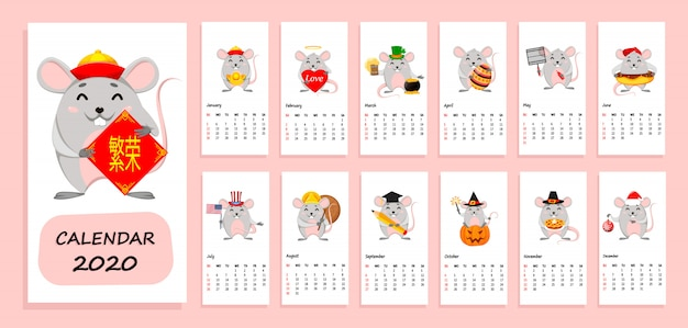 Kalendarz roku 2020 z zabawnymi szczurami
