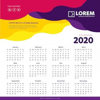 Kalendarz ścienny 2020 kolorowy szablon