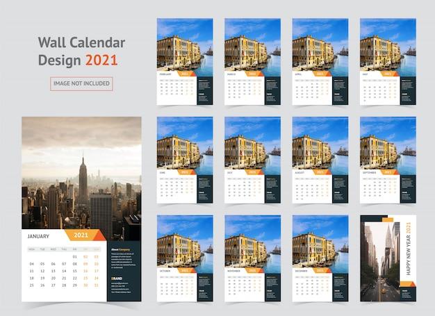 Kalendarz ścienny 2021 szablon