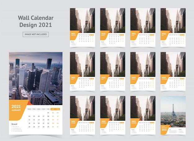 Kalendarz ścienny 2021 Szablon Premium Wektorów