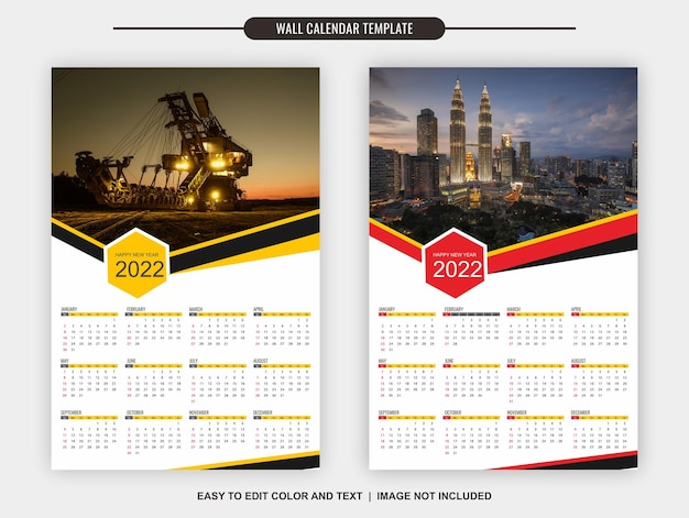 Kalendarz ścienny 2022 szablon 12 miesięcy z dwoma różnymi kolorami