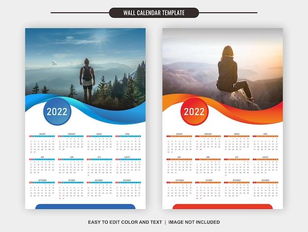 Kalendarz ścienny 2022 szablon 12 miesięcy
