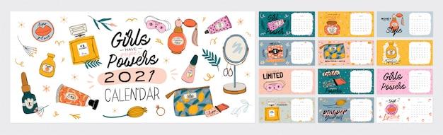 Kalendarz ścienny do pielęgnacji skóry cute girl power. planer roczny 2021 ze wszystkimi miesiącami. dobry organizator i harmonogram. modna ilustracja kobiet