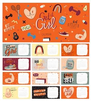Kalendarz ścienny firtness. planer roczny ma wszystkie miesiące. dobry organizator i harmonogram.