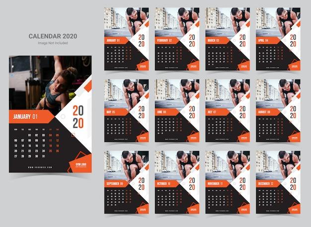 Kalendarz ścienny fitness i siłownia 2020