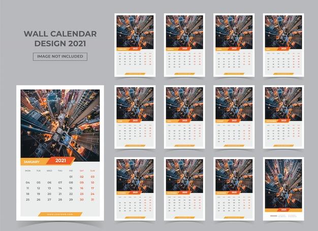 Kalendarz ścienny na 2021. tydzień zaczyna się w poniedziałek