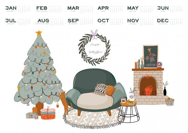Kalendarz ścienny. planer roczny 2021 ze wszystkimi miesiącami. organizator i harmonogram dobrej szkoły. boże narodzenie projektowanie wnętrz domu