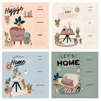 Kalendarz ścienny. planer roczny 2021 ze wszystkimi miesiącami. organizator i harmonogram dobrej szkoły. śliczne tło wnętrza domu. cytat motywacyjny napis