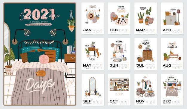 Kalendarz ścienny. planer roczny 2021 ze wszystkimi miesiącami. organizator i harmonogram dobrej szkoły. śliczne tło wnętrza domu.
