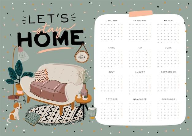 Kalendarz ścienny. planer roczny 2021 ze wszystkimi miesiącami. organizator i harmonogram dobrej szkoły